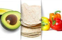 Clean veggie burrito - avocado, beans, peppers