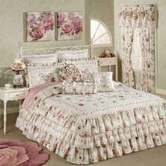 English Rose Ruffled Grande Bedspread Ivory