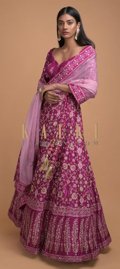 Mulberry pink lehenga choli in silk with floral jaal print. Embellished with cut dana, sequins and pita zari. Pink Lehenga, Lehenga Choli, Sari, Mehendi, Floral Motif, News Design, Sequins, Bridesmaid, Free Shipping