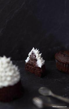 sabrinasue: snow falling on fir trees - chocolate vanilla cupcakes