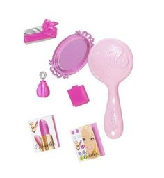 2008 Barbie Doll - Color Your World Pink - Party Rule #1: Wear Pink! Mattel | eBay Dresser Makeup Table Mirror Brush Perfume Tray Magazines