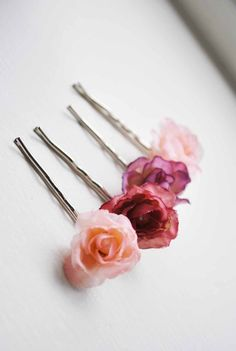Pink flower bobby pin set Rose hair clips GUMDROPS by whichgoose