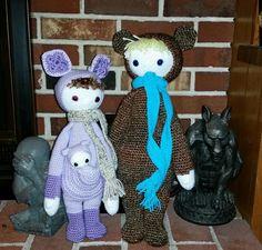 KIRA the kangaroo and BINA the bear made by Amie F.-F. / crochet patterns by lalylala