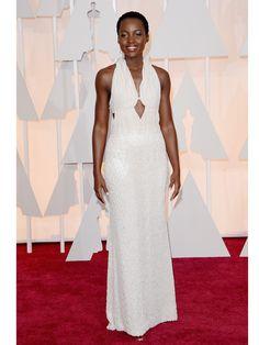 Lupita-Nyong'o in an incredible pearl-encrusted custom Calvin Klein at the 87th Academy Awards