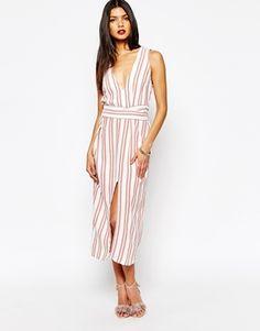 Midi Dress | Stripes | High Slit