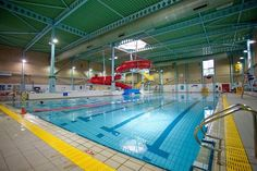#Westgate Leisure Centre, off the Avenue de Chartres, Chichester. Water slides, kids pool with water features, main pool and smaller pool. Gym, badminton, squah courts etc etc and spa area too.