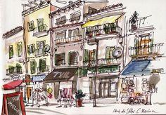 Mallorca, Port de Sòller, C. Marina - Detlef Surrey http://www.skizzenblog.surrey.de/ - Urban Sketches