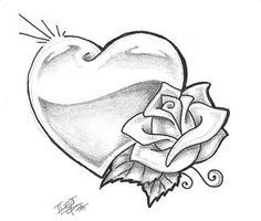 Heart drawing heart and roses tattoo drawings heart tattoos tim jpg Pencil Art Drawings, Art Drawings Sketches, Love Drawings, Tattoo Sketches, Tattoo Drawings, Drawings Of Hearts, Cool Heart Drawings, Drawing Designs, Outline Drawings