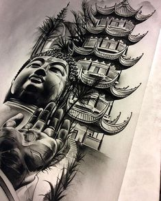 Finished up the Buddha/temple/meditation piece... inner forearm. soft colors. black.