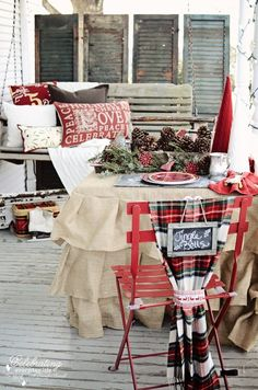 Cute Front Porch... like the ruffled burlap table cloth and the shutters
