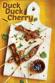Cherry Chipotle Duck Skewers and Celler de Capcanes Mas Donis Barrica