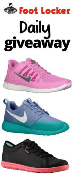 Enter To Win Free Shoes In The Foot Locker Daily Giveaway! TERRIFIC GIVEAWAY! Enter here http://womanfreebies.com/sweepstakes/footlocker-daily-giveaway For Your Chance! You Know I Sure Did Enter!!! I'D LOVE TO WIN A FREE PAIR OF SNEAKERS!!!!! Thanks, Michele
