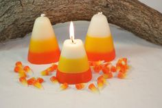 Candy Corn Candle Scented in Sweet Candy Corn, Halloween Candle, Fall Home Decor,