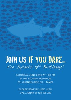 Ocean & Shark Birthday Party Invitation Design