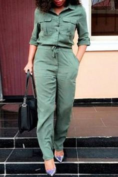 Stylish Turn-Down Collar 3/4 Sleeve Solid Color Pocket Design Women's Jumpsuit
