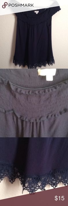 cf762251cb6 NWOT Navy off the shoulder top Size medium. Cinched around the top and has  clear straps. Purchased at Papaya by the brand Active USA Papaya Tops  Blouses