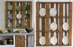 Textures. Inexpensive shelf for small heirlooms. And lots of other ideas for upcycling pallets. Free or almost free.  Art of Upcycling: 20 DIY Wood Pallet Reuse Project Ideas | WebEcoist
