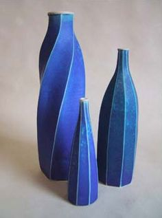 Emily Myers, Blue Faceted Vases