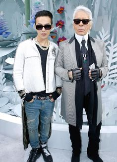 G-Dragon with Karl Lagerfeld at Chanel's Couture Show