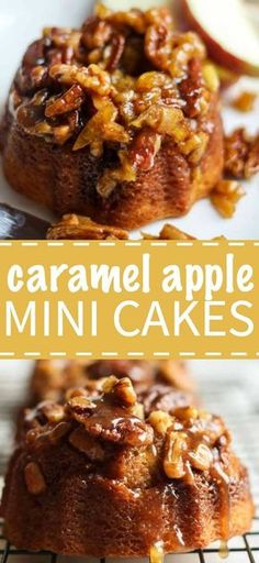 Individual fall-inspired cakes that you will be so proud to serve your family and friends at your next party. These adorable caramel apple mini cakes are made in mini bundt pans and they& filled with so much flavor (cinnamon, apples, caramel, oh m Mini Desserts, Apple Desserts, Apple Recipes, Delicious Desserts, Apple Cakes, Fall Desserts, Irish Desserts, Mini Dessert Recipes, Cherry Desserts