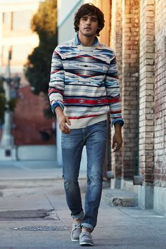 Jacquard-knit sweater in red, blue, and black geometric pattern. | H&M For Men