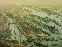 Freihafenspeicherstadt Hamburg um 1889 Lithogrphie Gries + Urban