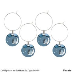 Cuddly Cats on the Moon Wine Charm