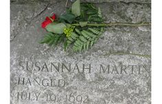 Memorial stone honoring Susannah Martin, one of 20 people in Salem, MA, put to death as a result of the Salem Witch Trials of 1692.