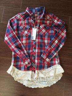 Vintage Havana Flannel Shirt with Ruffle Hem