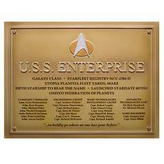 Star Trek U.S.S. Enterprise-D Dedication Plaque #4