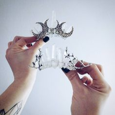 If yoh can't decide - take both  anyone can relate to that! Me - definitely so! It is never too much in treating yourself with beautiful things  . . . #moon #twig #crystal #crown #bridal #weddingaccessories #instawedding #bohobride #alternative #bohemian #freespirit  #crystals #gemstones #minerals #power #talisman #mermaid  #witchythings #bohoaccessories #bohojewelry  #rustic #madewithlove #handmade #jewelry #vscocam #etsy #etsyshop #moondome_uk