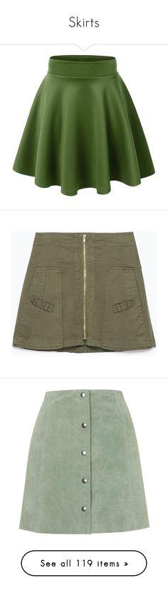 """""""Skirts"""" by carlou863 on Polyvore featuring skirts, bottoms, green skirt, skater skirt, green skater skirt, flared skirt, circle skirts, mini skirts, faldas et khaki"""