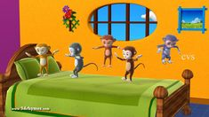 Five Little Monkeys Jumping on the bed - 3D Animation English Nursery rh...