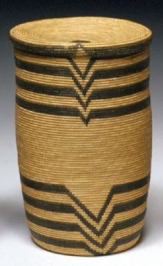Lidded basket from the Kaziba or Haya people of Tanzania, Africa, early 1900s. Grass fibre and natural dyes