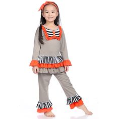 Latest Halloween Ruffle Kids Clothes Girls Clothing Set Gray Ruffle Clothes Sets Orange Gray Black White Stripe Ruffle Clothes