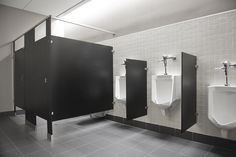 Elegant Black And White Restroom Interior Design Ideas Commercial Toilet, Commercial Design, Office Bathroom, Bathroom Interior, Bathroom Ideas, Cubicle Design, Toilette Design, Washroom Design, Black Toilet