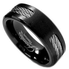 7MM Black Titanium Ring Wedding Band with Twisted Steel Cables