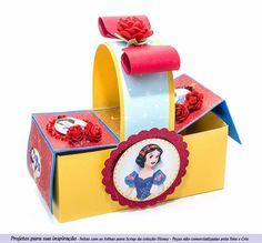modelo caixa pic nic tema Branca de neve usando papeis licenciados Disney , cardstock cintilante e furador cantoneira entalhe para o laço