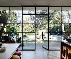 Image result for skinny frame black sliding door