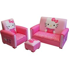 Hello Kitty Bows Toddler Sofa, Chair and Ottoman Set, I looooooove this! Too bad it's so small I'd get one for me, but I guess I'll just have to get it for my girls :) and like OMG! get some yourself some pawtastic adorable cat apparel! Hello Kitty Zimmer, Hello Kitty Haus, Hello Kitty Bedroom, Hello Kitty Kitchen, Hello Kitty Bow, Toddler Sofa Chair, Kids Sofa, Toddler Furniture, Chair And Ottoman Set