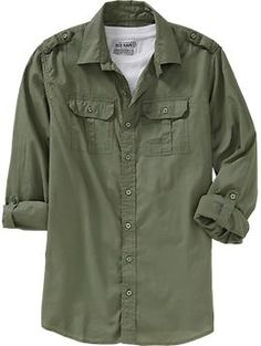 Men's Tab-Sleeve Military Shirts Regular Price $34.94