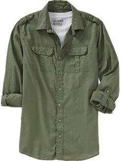 Men's Tab-Sleeve Military Shirts Regular Price $34.94