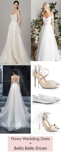 White lace long sleeve, backless tulle sheer Milva ballgown, Lela Rose V neck flowly floral prints and Karen Willis Holmes off shoulder white trendy and romantic wedding dress looks stunning when paired with Bella Belle ankle strap and floral embroidered classic wedding heel Anita or comfortable wedding flat with floral patterns Allegra or chic wedding heel Elise with silk and tulle bow.