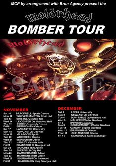 Motorhead Bomber Tour Poster A3 Size Repo NEW