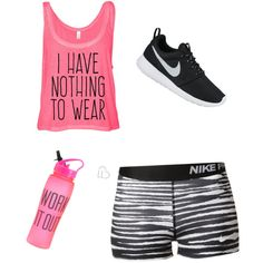 Gym time!!!! by caligirl43 on Polyvore featuring polyvore, fashion, style, NIKE and Aéropostale