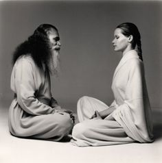 1972 Yoga meets fashion - Swami Satchidananda Teaches Yoga poses to supermodel Verushka, photographed by Richard Avedon for Vogue magazine.