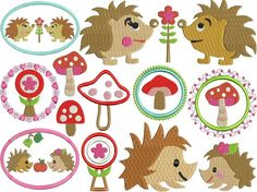 Machine embroidery design HEDGEHOGS LIFE set by malinkata on Etsy. , via Etsy.