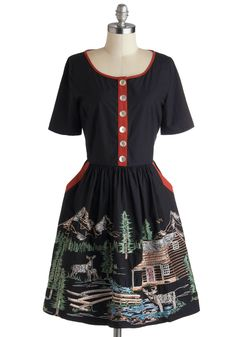 Harbor a Love Dress in Cabin. Youve always held the sight of a lush forest close to your heart, and now you can prove your passion by wearing the cabin scene of this embroidered dress by Knitted Dove  available for purchase in September! #black #modcloth