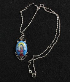 Vintage Medal Mater Dolorosa Hand Painted Miniature in Sterling Filigree Frame w Chain Islamic Prayer, Silver Filigree, Crucifix, Sterling Silver Chains, Miniatures, Hand Painted, This Or That Questions, Pendant, Frame