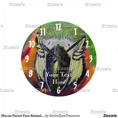 Macaw Parrot Face Animal Art Round Clock.  From Smilin' Eyes Treasures at Zazzle.